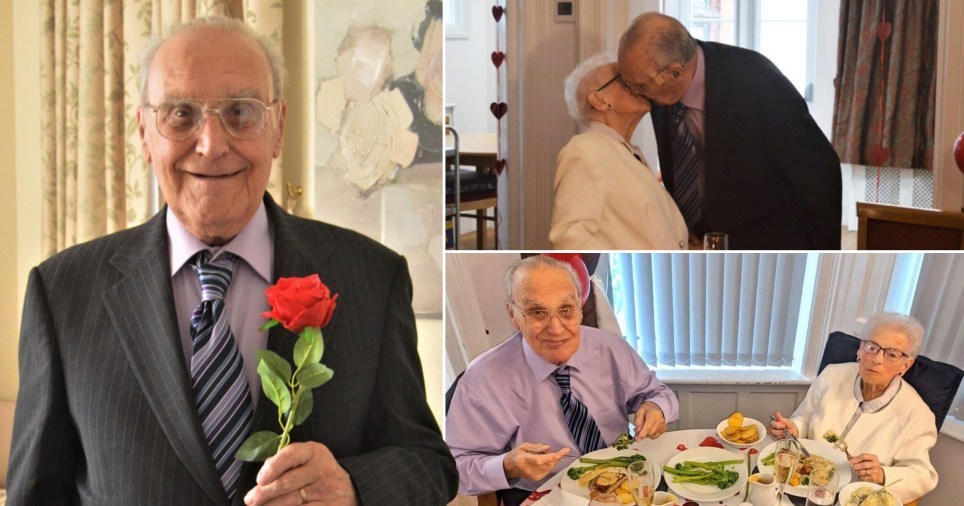 Derek and Phyllis Mapes, both 90, celebrating their 66th wedding anniversary at Laurel Lodge care home in Norwich in October after being kept apart for months by the coronavirus pandemic.