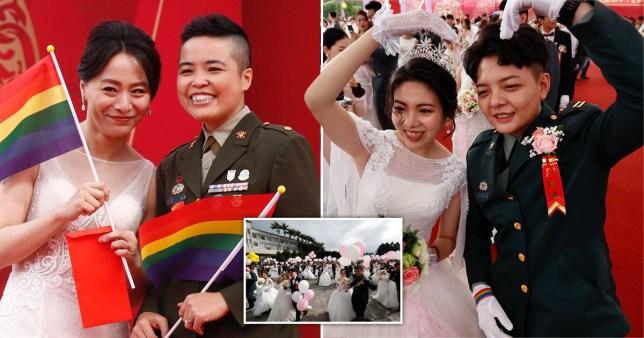 Deux couples de lesbiennes ont été les premiers couples de même sexe à se marier lors d'une cérémonie militaire lorsqu'ils se sont mariés lors d'un mariage de masse dans la ville nord de Taoyuan.