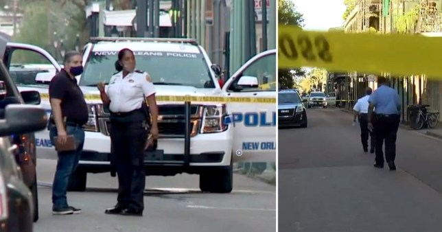 Police crime scene in the French Quarter of New Orleans after two officers were shot by a pedicab passenger on Friday, October 30, 2020