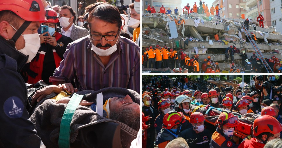 Rescuers search for survivors of the earthquake on October 30, 2020 that rocked Turkey's Aegean coast and the Greek island of Samos.