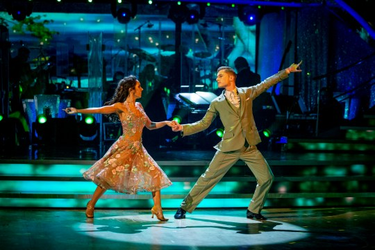 For use in UK, Ireland or Benelux countries only BBC handout photo of Janette Manrara and HRVY during the live show for Saturday's programme in the BBC1 dancing contest, Strictly Come Dancing. PA Photo. Issue date: Saturday October 31, 2020. See PA story SHOWBIZ Strictly. Photo credit should read: Guy Levy/BBC/PA Wire NOTE TO EDITORS: Not for use more than 21 days after issue. You may use this picture without charge only for the purpose of publicising or reporting on current BBC programming, personnel or other BBC output or activity within 21 days of issue. Any use after that time MUST be cleared through BBC Picture Publicity. Please credit the image to the BBC and any named photographer or independent programme maker, as described in the caption.