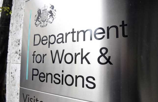 A sign for the Department for Work & Pensions in Westminster, London.