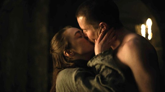 Maisie Williams and Joe Dempsie in Game Of Thrones.