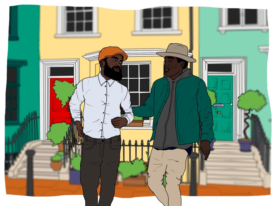 Illustration of two black men in an affluent area
