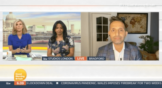 Kate Garraway, Ranvir Singh and Dr Amir Khan on Good Morning Britain