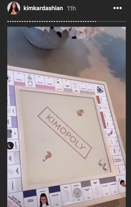 Kim Kardashian shows off personalised Monopoly board game
