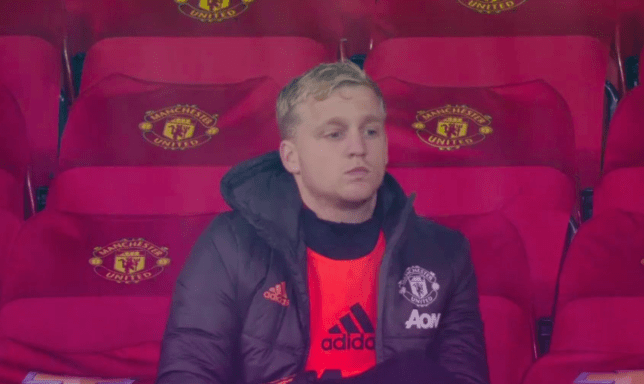 Van de Beek looked less than pleased as he once again left out