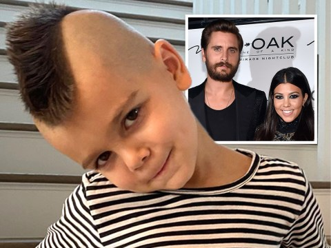 Kourtney Kardashian's son Reign touches up his cool new mohawk as dad Scott keeps a watchful eye