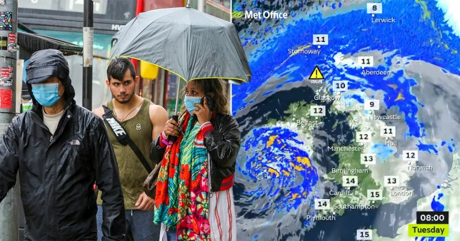 People wearing face masks using umbrellas in London and a Met Office weather map of the UK for Tuesday, October 20