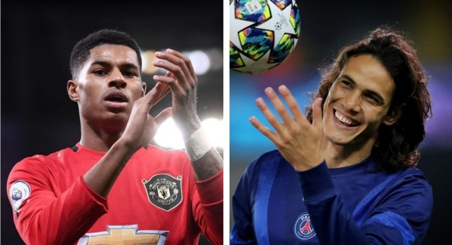 Marcus Rashford has reacted to Manchester United signing Edinson Cavani