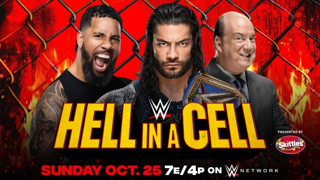 WWE Hell In A Cell 2020 poster with Jey Uso, Universal Champion Roman Reigns and Paul Heyman