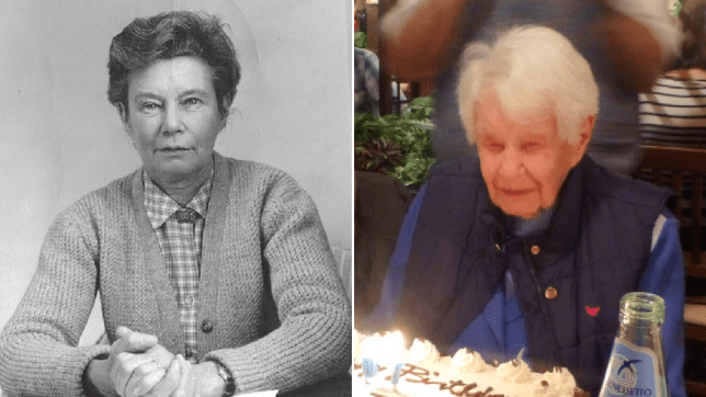 Joan Hocquard as a younger woman, and on her birthday several years ago