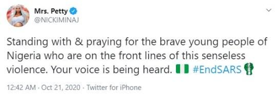 Nicki Minaj statement on Nigeria
