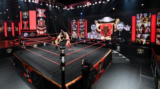 WWE NXT UK superstars A-Kid and Trent Seven battle in the Heritage Cup final at BT Sport Studios