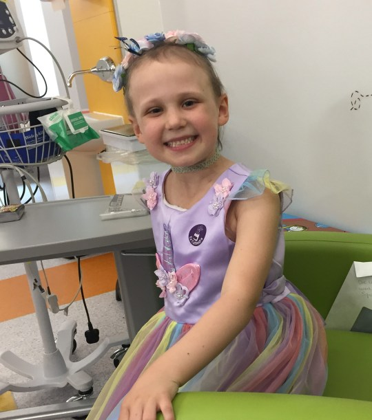 seren mawson in hospital wearing a princess dress