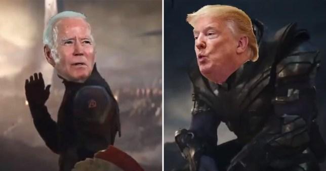 Donald Trump and Joe Biden in Avengers: Endgame election parody