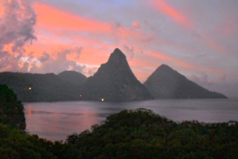 The Piton mountains seen at sunrise. St Lucia offers a wealth of adventure activities (Picture: Sadie Whitelocks)