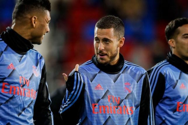 Casemiro and Eden Hazard chat ahead of Real Madrid's La Liga clash with Eibar