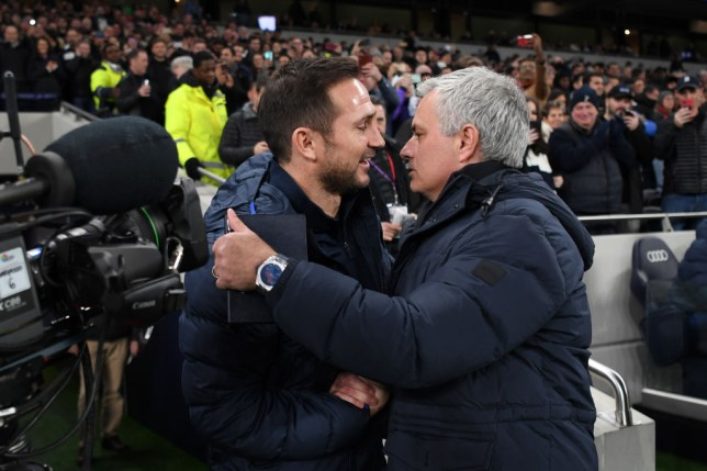 Frank Lampard and Jose Mourinho hug before Chelsea's Premier League clash with Tottenham