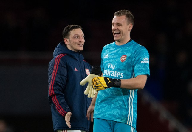 Mesut Ozil and Bernd Leno chat during Arsenal's Premier League clash with Newcastle United