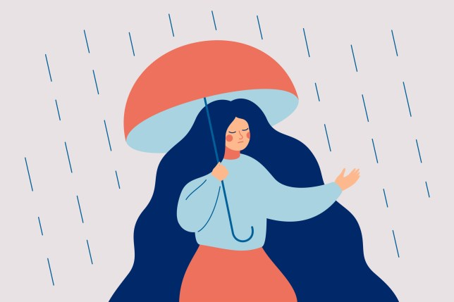 illustration of a woman standing under an umbrella in the rain