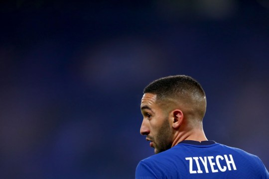 Hakim Ziyech of Chelsea during the UEFA Champions League Group E stage match between Chelsea FC and Stade Rennais at Stamford Bridge on November 4, 2020 in London, United Kingdom