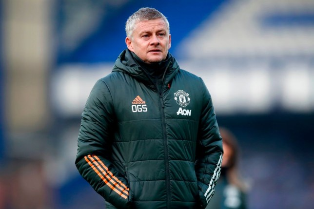 Ole Gunnar Solskjaer looks on during Manchester United's Premier League clash with Everton