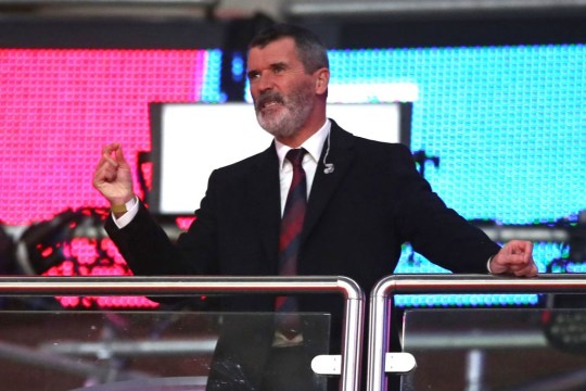 Former Ireland player Roy Keane, working for television, looks on during the international friendly football match between England and Republic of Ireland at Wembley stadium in north London on November 12, 2020.