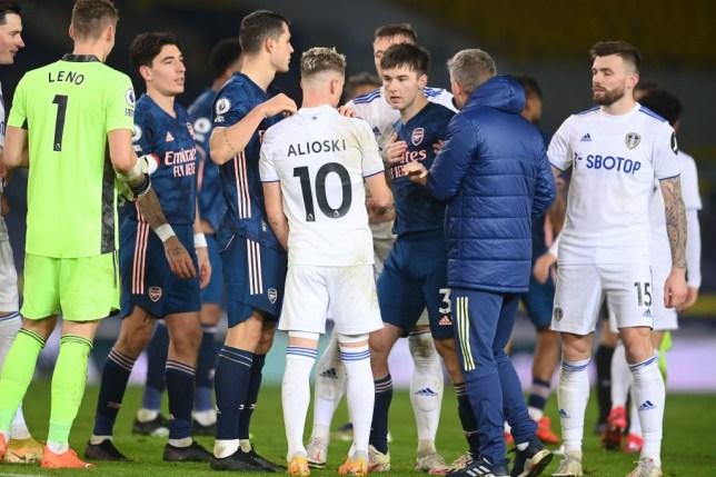 Kieran Tierney confronted Ezgjan Alioski after Arsenal's goalless draw with Leeds United