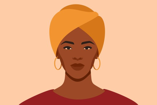 illustration of a black woman wearing a turban head wrap