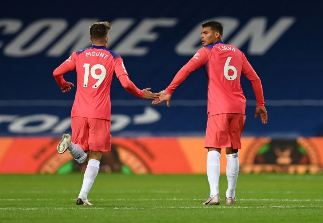 Mason Mount and Thiago Silva look on during Chelsea's Premier League clash with West Brom