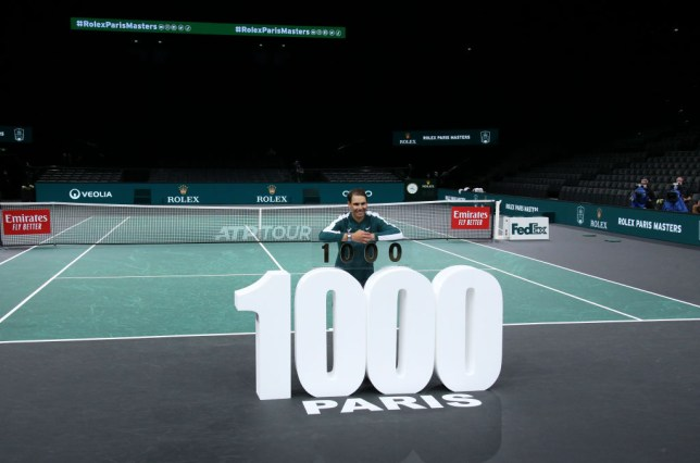 Rafael Nadal of Spain celebrates his 1 000th victory on Tour after beating Feliciano Lopez of Spain during day 3 of the Rolex Paris Masters, an ATP Masters 1000 tournament held behind closed doors at AccorHotels Arena formerly known as Paris Bercy on November 4, 2020 in Paris, France.