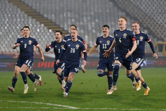 Scotland team celebrate after their victory in the UEFA EURO 2020 Play-Off Final between Serbia and Scotland at Rajko Mitic Stadium on November 12, 2020 in Belgrade, Serbia. Football Stadiums around Europe remain empty due to the Coronavirus Pandemic as Government social distancing laws prohibit fans inside venues resulting in fixtures being played behind closed doors.