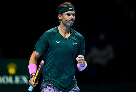Rafael Nadal of Spain celebrates during his match against Andrey Rublev of Russia during Day 1 of the Nitto ATP World Tour Finals at The O2 Arena on November 15, 2020 in London, England.