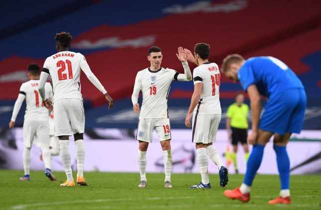 Phil Foden celebrates scoring for England against Iceland in the Nations League