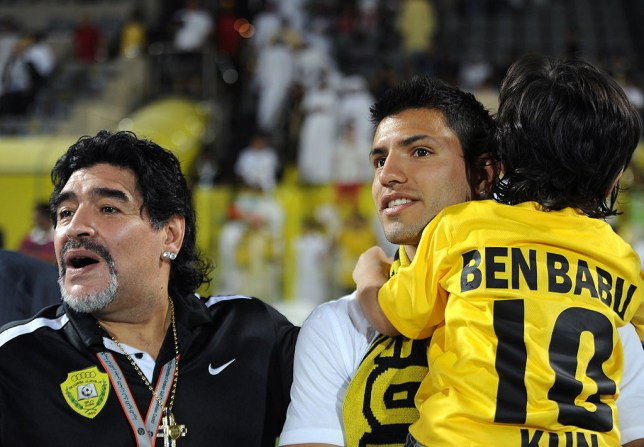 Diego Maradona and Sergio Aguero with the striker's son Benjamin