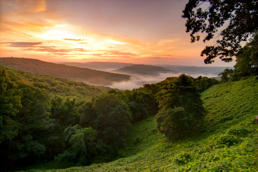 View of a foggy sunrise in the Ozark Mountains