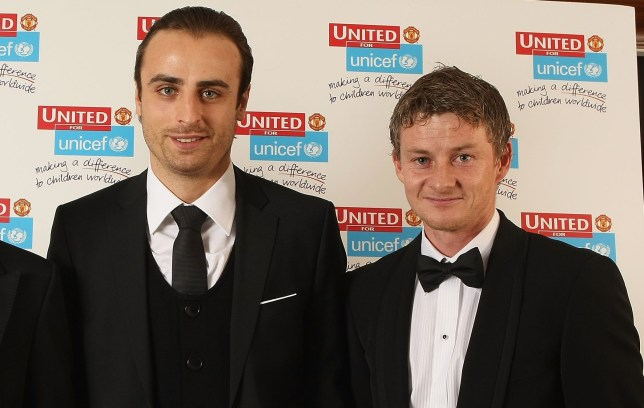 Manchester United UNICEF Charity Dinner: Dimitar Berbatov and Ole Gunnar Solskjaer of Manchester United arrive at the annual United for Unicef charity dinner at Old Trafford on November 9 2008 in Manchester, England.