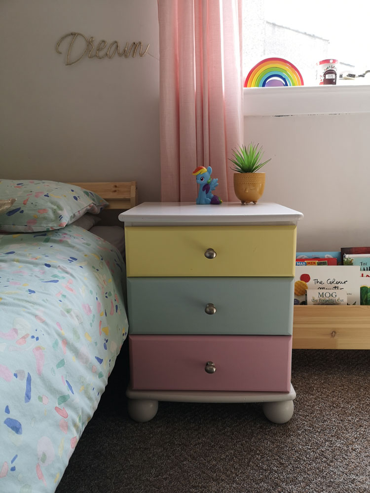 What I Rent: Megan, Falkirk - child's bedroom with pink, blue, and yellow chest of drawers