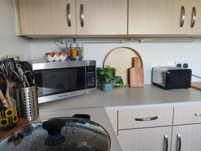 What I Rent: Megan, Falkirk eggs, chopping board, microwave on counters