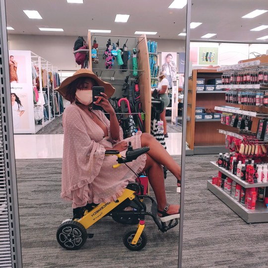 Teona Studemire in a mobility aid
