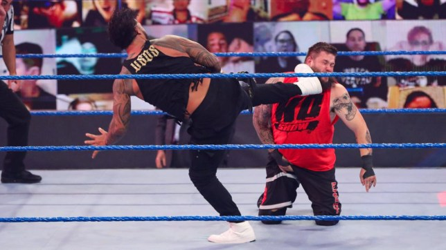 WWE superstars Jey Uso and Kevin Owens on SmackDown