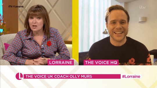 The Voice judge Olly Murs is interviewed by Lorraine Kelly on ITV's Lorraine