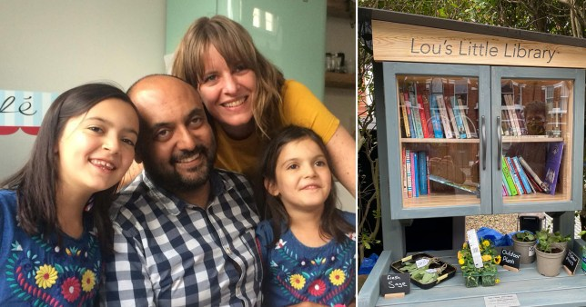 shaff  prabatani with his wife Lou Thulin Simonsen and their children, along with the library they made in Lou's honour