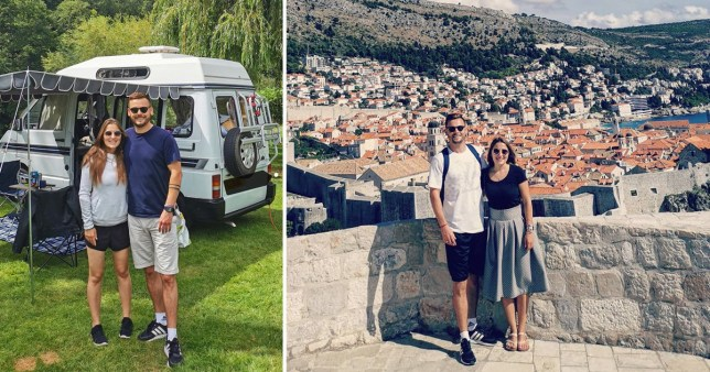 Kirstjane Kamdacaj, 25, and Adam Mottram, 34, standing by the campervan in which they completed a round the world adventure