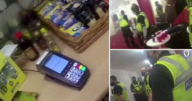 Police at the illegal party in Wolverhampton