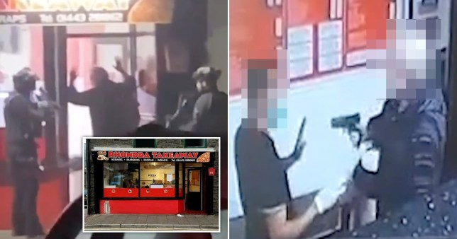 A gunman pulled out a pistol when he was asked to wear a facemask in a kebab shop in South Wales