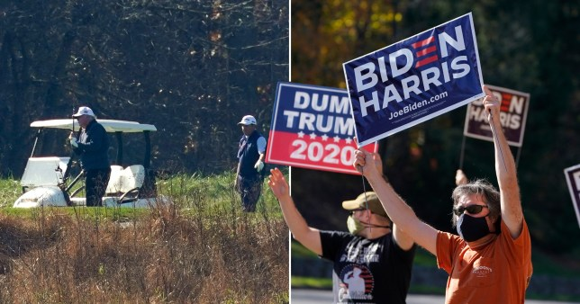 Biden Supporters greeted Trump as he arrived at his golf course in Virginia on November 7, 2020