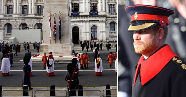 Prince Harry pictured at a previous Remembrance Sunday event and this year's socially distanced commemorations