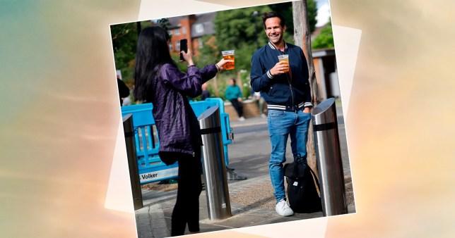 People enjoy socially distant takeaway pints in London
